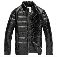 2013 New High Quanlity Men's PU Leather Short Coat Winter Warm Down Jacket Black and Kahki M-XXXL Free Shipping