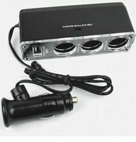 Free Shipping 2pss/lot 3 Way Auto Car Cigarette Lighter Socket Splitter 12V Charger Power Adapter Plug DC 12V Triple Socket USB