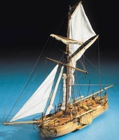 Wooden sailing boat navy model