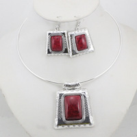 Jewelry Set European and American fashion jewelry geometry box necklace + earrings National costume jewelry sets S037