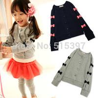 Free shipping 2014 autumn GIrl's sweatshirt sweet long-sleeve basic shirt  bow cardigan  100~140 size dark blue Color (CC007)