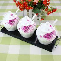 Ceramics 7 set bone china spice jar base spoon kitchen utensils large capacity