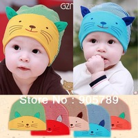 5 Colors Baby Cotton Hat Infant Cartoon 3D Cat Hat For 0-2 Year Children