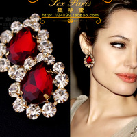 Free Shipping Fashion Luxury Sexy 18K Gold Plated Sparkling Rhinestone Red Crystal Stud Earrings