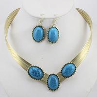 Korea unique design fashion Imitation  gemstone jewelry oval earrings +necklace party jewelry set S036