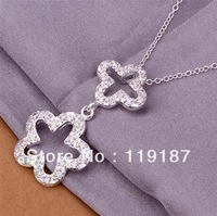 Free shipping wholesale new fashion jewelry, inlaid stone double flower necklace high quality 925 silver necklace CN347