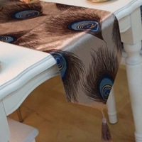 Quality Short Floss Beautiful Peacock Feather Pattern Table Runner/tablecloth/bed flag Size Customizing Accepted