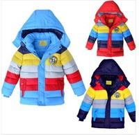2014 New winter boy coat,striped color,boys cotton-padded jacket,Kids winter down coat,children outwear snow wear coat3pcs/lot