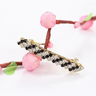 Free Shipping Fashion 18K Gold Plated Exquisite Rhinestone White & Black Color Small Barrettes Hair Jewelry