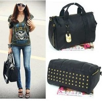 2013women's handbag bag fashion british style rivet messenger bag dual-use portable backpack
