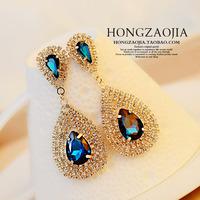 Free Shipping Fashion Hot Selling 18 K Gold Plated Full Rhinestone Water-Drop Acrylic Dangle Earrings