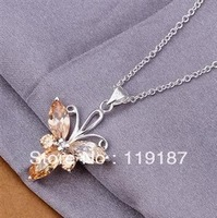 Free shipping wholesale new fashion jewelry, inlaid Yellowstone clover flower necklace high quality 925 silver necklace CN332