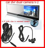 "4.3""car rearview mirror DVR parking camera 2.4 wireless camera/2 AVIN DVD/VCR GPS Video reverse back up camera wireless system"