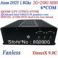 fanless windows linux mini computers with  DirectX 9.0C 6 COM Intel D525 1.8Ghz GMA3150 graphics nm10 LPT 6 USB 2G RAM 250G HDD