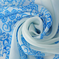Female long design cape blue and white porcelain cashew nuts series of silk scarf print scarf m023