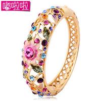 Cloisonne Bracelet Crystal Bracelet Gold Plated Hand Ring Female Fashion Vintage Cutout Accessories