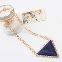 Triangle Geometric Gem Rhinestone Drop Shorts Choker Statement Necklaces & Pendants New 2014 Fashion Jewelry Women Wholesale T13