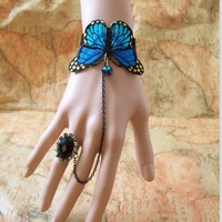Free Shipping Vintage royal butterfly bracelet with crystal ring/flower ring butterfly wristband blue butterfly Ethnic Fusion