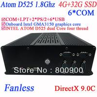 fanless mini ordinateur embeded pc with DirectX 9.0C 6 COM Intel D525 1.8Ghz GMA3150 graphics core nm10 LPT 6 USB 4G RAM 32G SSD