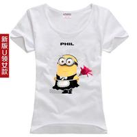free shipping / S-XXL Despicable Me Minions phil and tim women clothing T shirt men plus size casual shirt tops shirt women tee