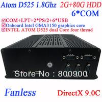 fanless mini itx pc free shipping with 6 RS232 Intel D525 1.8Ghz GMA3150 graphics nm10 LPT 6 USB DirectX 9.0C 2G RAM 80G HDD