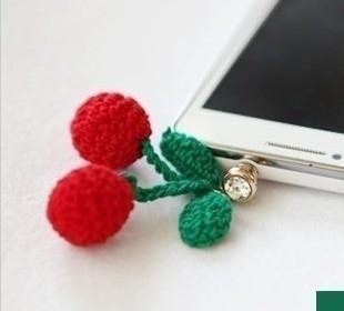 Red cherry hair ball pendant  for apple    for SAMSUNG   millet general dustproof plug earphones