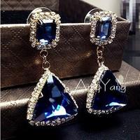 Free Shipping Fashion Hot Selling 18K Gold Plated Blue Crystal Triangle Rhinestone Shining Dangle Earrings