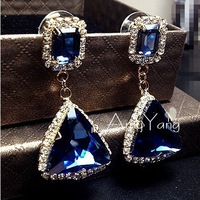 Free Shipping Fashion Hot Selling 18K Gold Plated Blue Crystal Triangle Rhinestone Shining Dangle Earrings