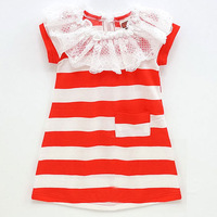 Children's clothing 2013 summer female child dress short-sleeve striped one-piece dress princess dress