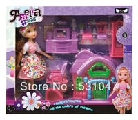 Free Shipping Cute doll with accessories and doll house furniture miniature  for girls