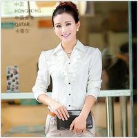 2013 Hot Sale Fashion Chiffon Ladies' Blouse shirt for women Full Sleeve BLOUSE Women Tops white Ruffles free shipping