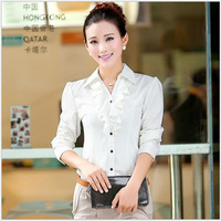 2013 Hot Sale Fashion Chiffon Ladies' Blouse shirt for women Full Sleeve BLOUSE Women Tops white Ruffles free shipping
