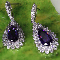 Pear Cut Amethyst & White Topaz Gems Silver Stick Earring Free Shipping