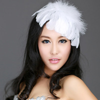 Free Shipping Hot Selling Fashion Feather hair bands stubbiness hairpin bridal white formal wedding dress hair accessories,1PCS