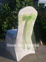 Free Shipping 100pcs Apple Green Organza Sash Chair Sashes Chair Bow
