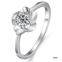 crystal flower rings 2013 silver platinum flower  ring women's glowed ring rose flower jewelry dj906 whole sale