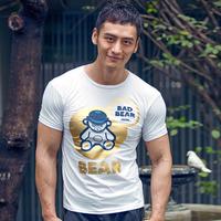 Male t-shirt summer slim t-shirt gymcollege bronzier bear head portrait men's short-sleeve T-shirt