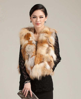free shipping  real red Fox fur vest design short fox fur vest outerwear women's