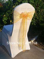 Free Shipping 100pcs New Gold Organza Sash Chair Sashes Chair Bow