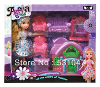 High quality doll with accessories and doll house furniture miniature  for Children gifts Free Shipping