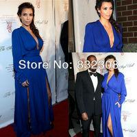 Sexy Deep V Neck Free Shipping Long Sleeve Plus Size Kim Kardashian Evening Dresses