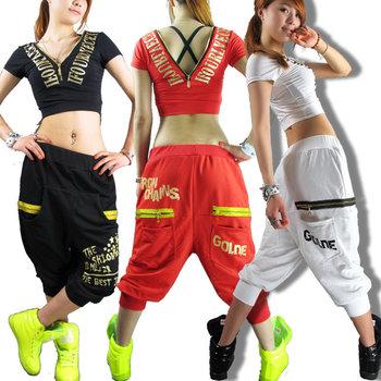 Women Hip hop pants dance wear sweatpants ds costume loose casual female sports pants ...