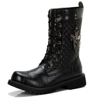 Tidal current cool genuine leather metal chain decoration special troops style high-leg male boots