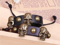 New 2013 Personalized  Skeleton Rivet Leather Bracelet National Style Handmade Braided Women Jewelry Free Shipping HeHuanSLQ035