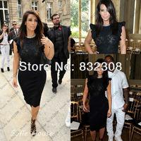 Free Shipping Unique High Neck Sleeves Sheath Black Lace Ruffled Prom Dress Customize 2013 Kim Kardashian Short Dresses