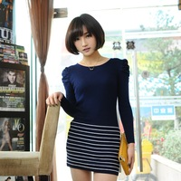 Spring women's 2013 puff sleeve o-neck long pleated design long-sleeve sweater stripe slim hip one-piece dress female
