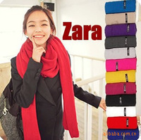 Wj048 autumn and winter knitted small yarn solid color male women's design long scarf 150g