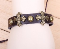 Vintage Retro Rivet Cross Cowhide Charms Bracelet  Cross Adjustable Charms Bracelet For Women Free Shipping HeHuanSLQ036