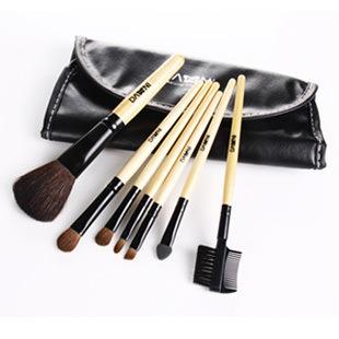 7PC Hair Professional Brand Foundation Makeup Brushes Brush Set  Kit Leather Bag Make Up Cosmetics Wholesale FacialFree Shipping