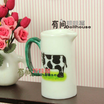 Doll house model ceramic cow milk bottle